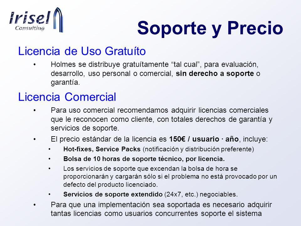 Soporte y Precio Licencia de Uso Gratuíto Licencia Comercial