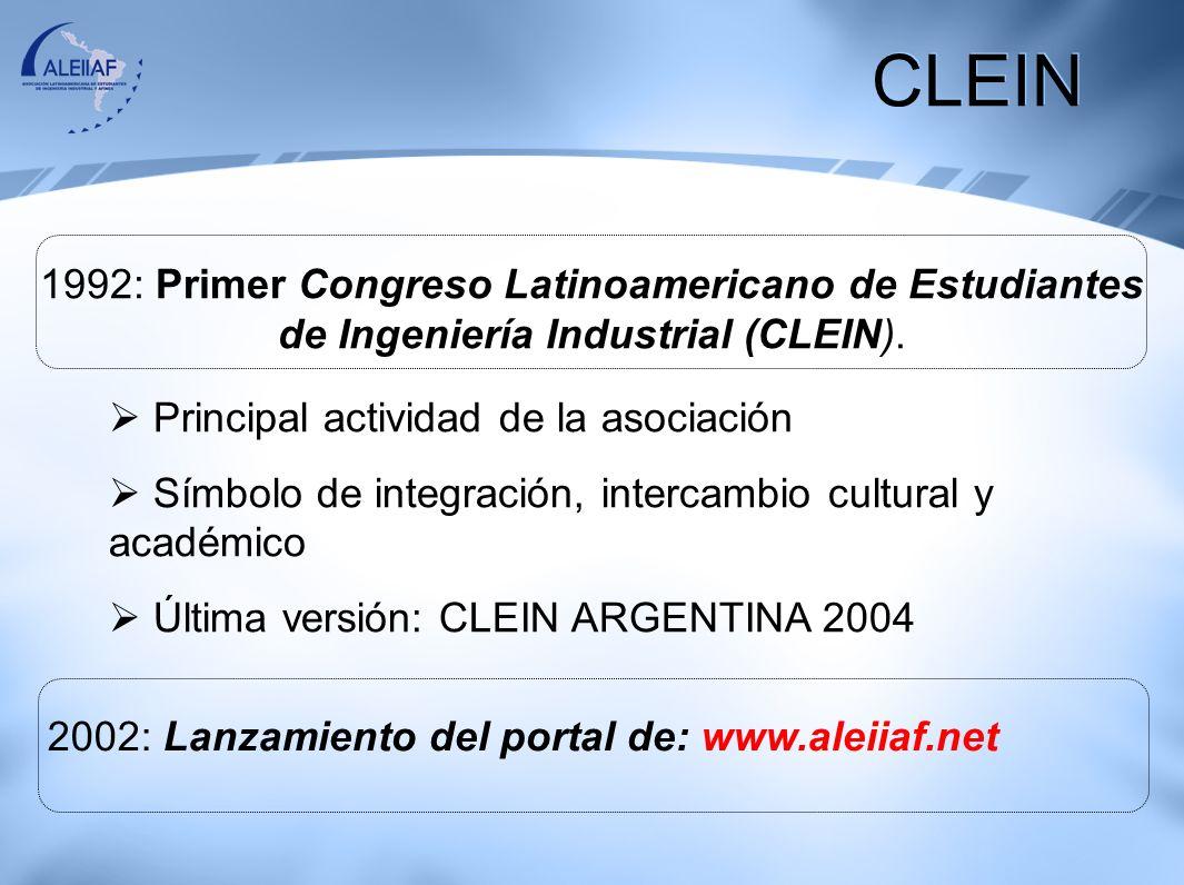 CLEIN 1992: Primer Congreso Latinoamericano de Estudiantes de Ingeniería Industrial (CLEIN). Principal actividad de la asociación.