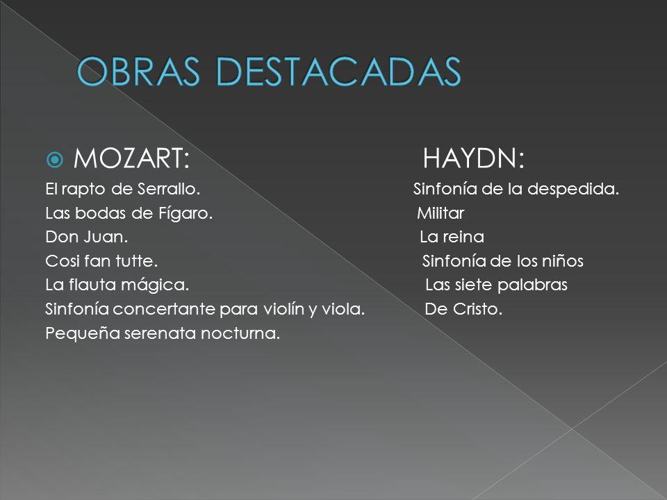 OBRAS DESTACADAS MOZART: HAYDN: