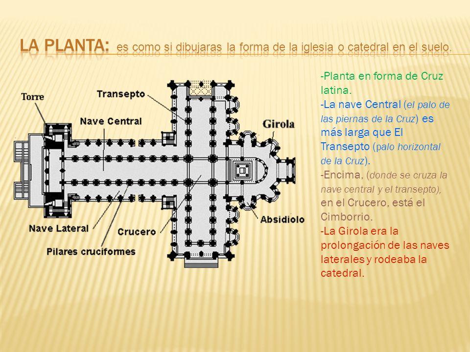 LA PLANTA: es como si dibujaras la forma de la iglesia o catedral en el suelo.