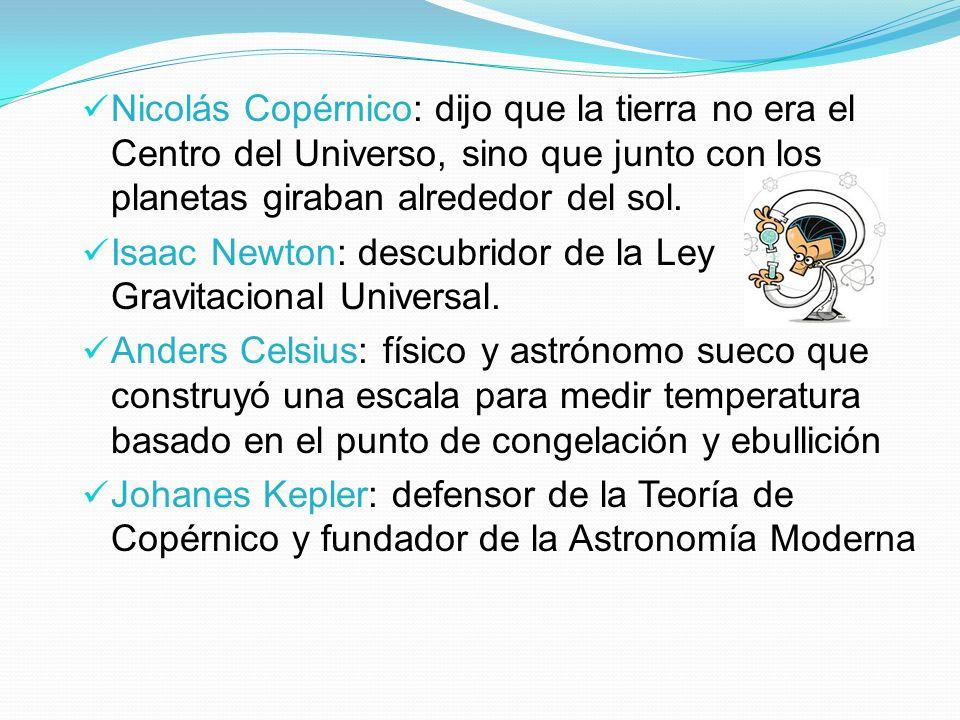 Nicolás Copérnico: dijo que la tierra no era el Centro del Universo, sino que junto con los planetas giraban alrededor del sol.