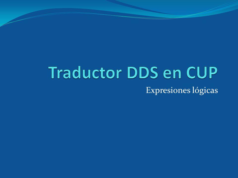 Traductor DDS en CUP Expresiones lógicas