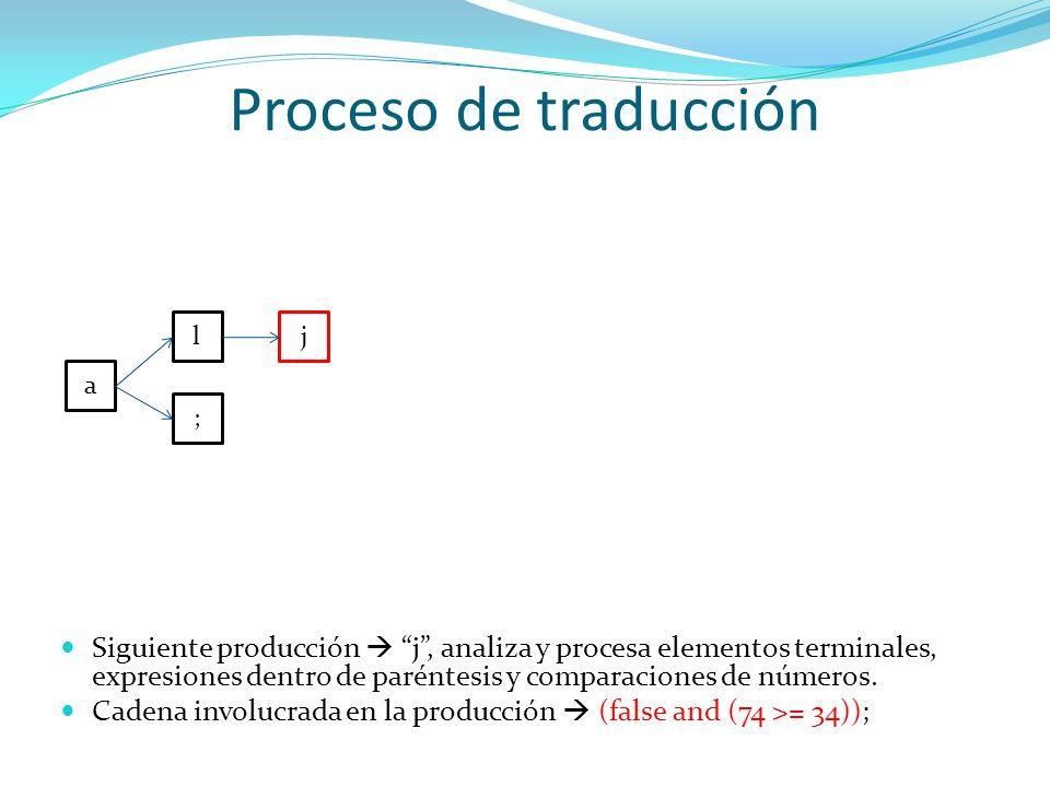 Proceso de traducción l. j. a. ;
