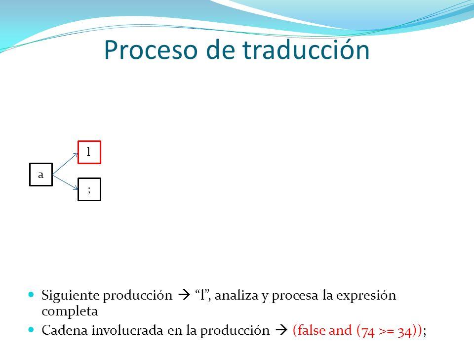 Proceso de traducción l. a. ; Siguiente producción  l , analiza y procesa la expresión completa.