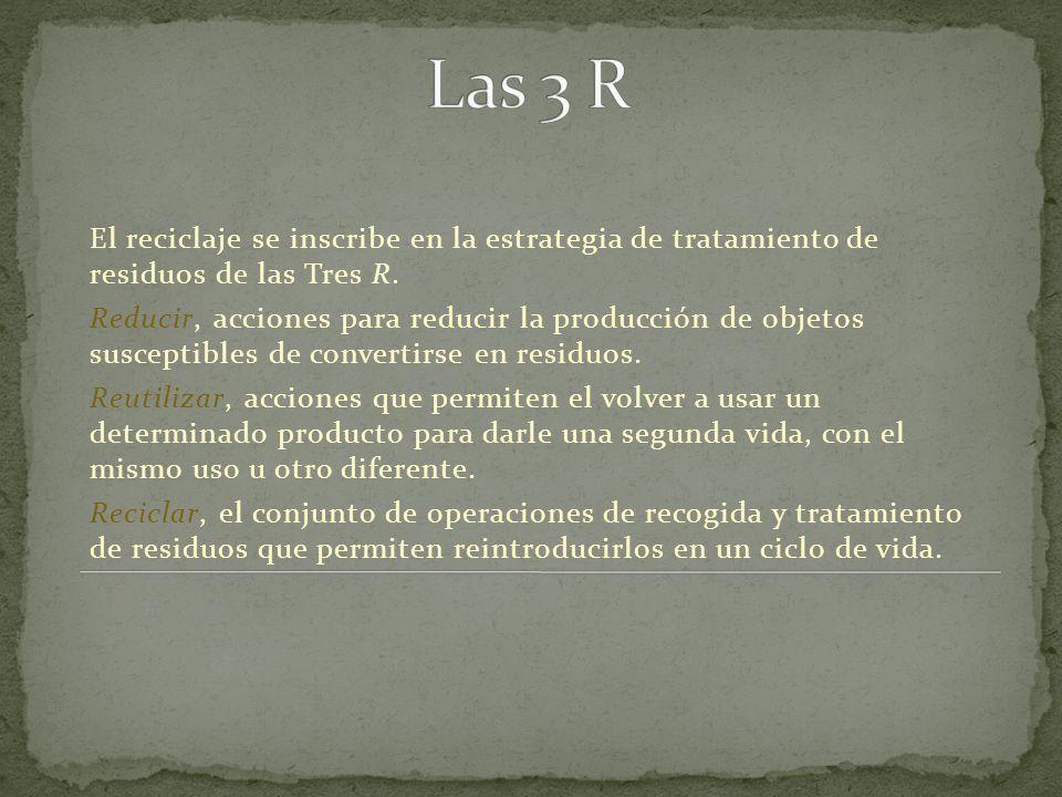 Las 3 R El reciclaje se inscribe en la estrategia de tratamiento de residuos de las Tres R.