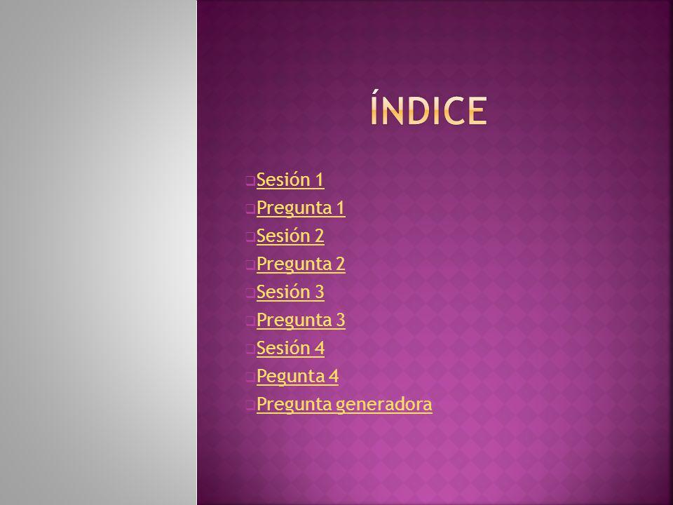ÍNDICE Sesión 1 Pregunta 1 Sesión 2 Pregunta 2 Sesión 3 Pregunta 3