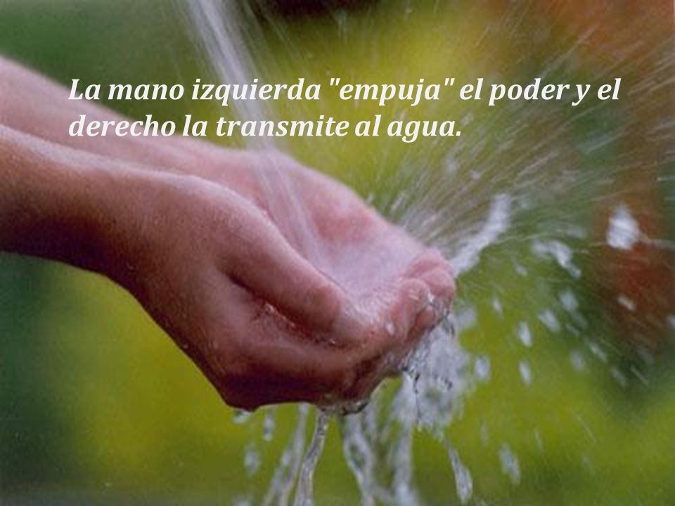 La mano izquierda empuja el poder y el derecho la transmite al agua.