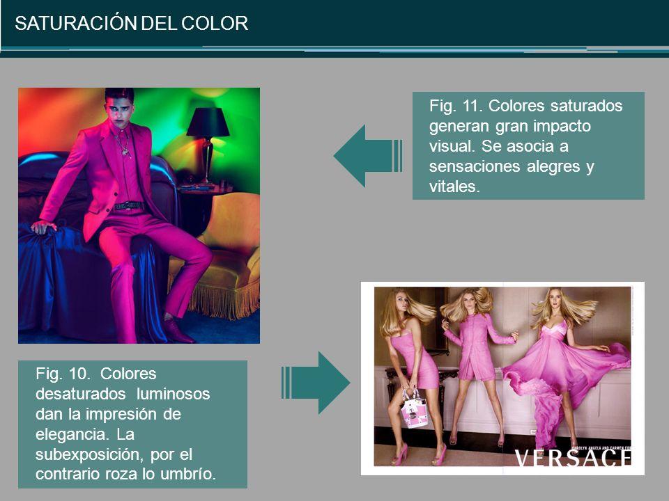 SATURACIÓN DEL COLOR Fig. 11. Colores saturados generan gran impacto visual. Se asocia a sensaciones alegres y vitales.