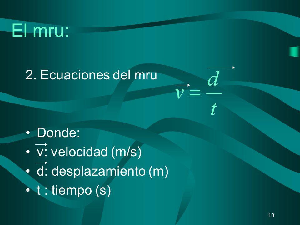 El mru: 2. Ecuaciones del mru Donde: v: velocidad (m/s)