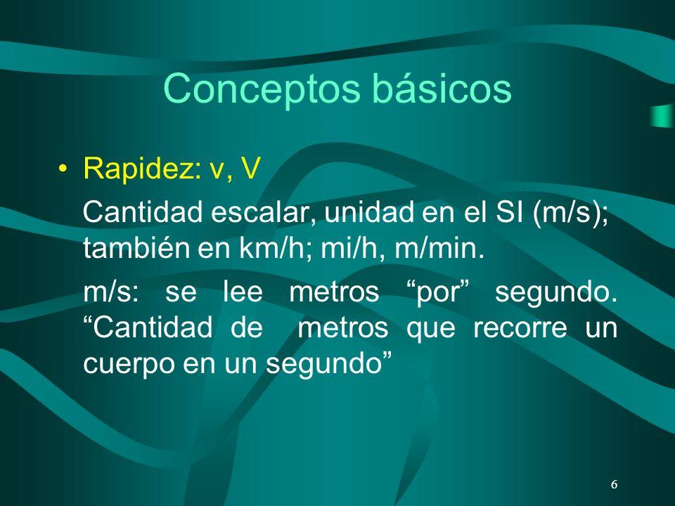 Conceptos básicos Rapidez: v, V