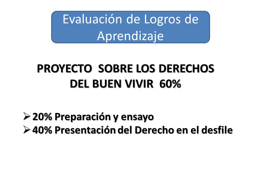 PROYECTO SOBRE LOS DERECHOS DEL BUEN VIVIR 60%