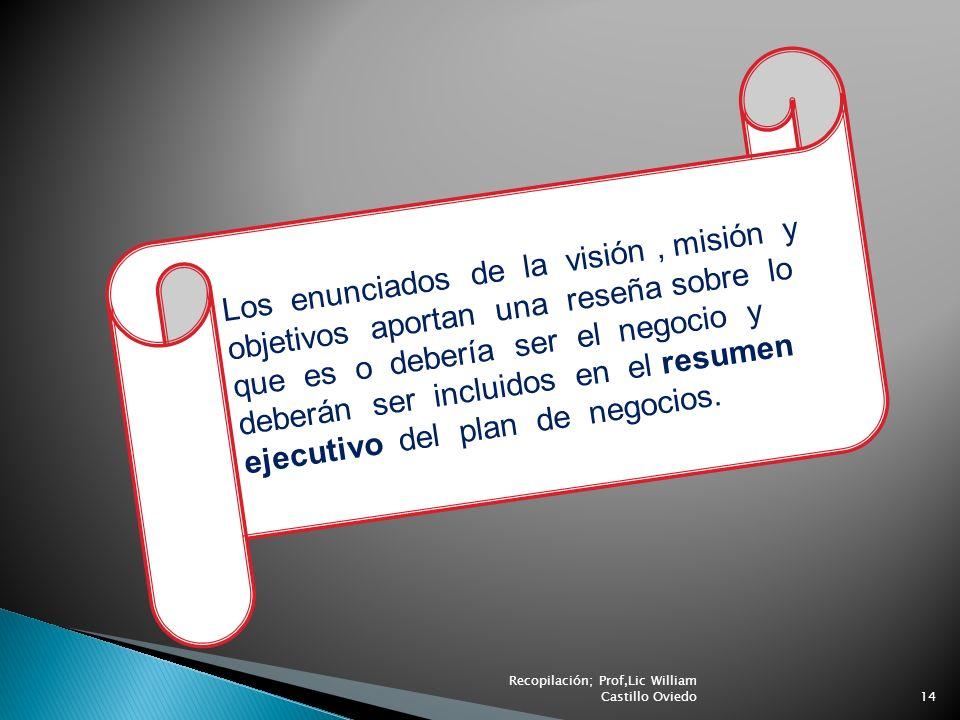 Los enunciados de la visión , misión y objetivos aportan una reseña sobre lo que es o debería ser el negocio y deberán ser incluidos en el resumen ejecutivo del plan de negocios.