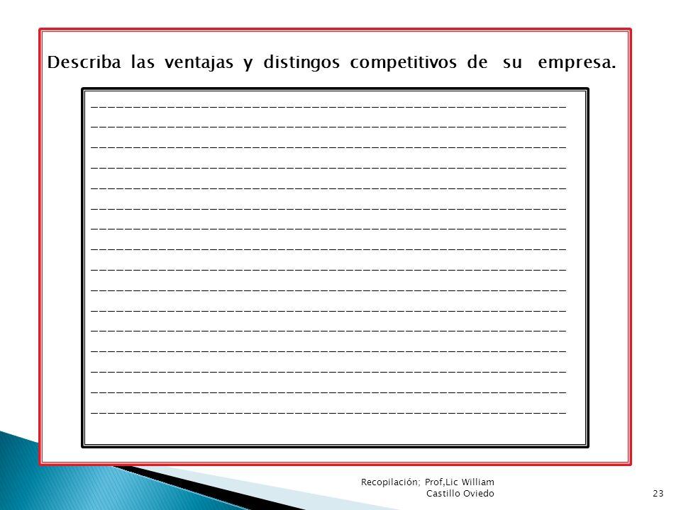 Describa las ventajas y distingos competitivos de su empresa.
