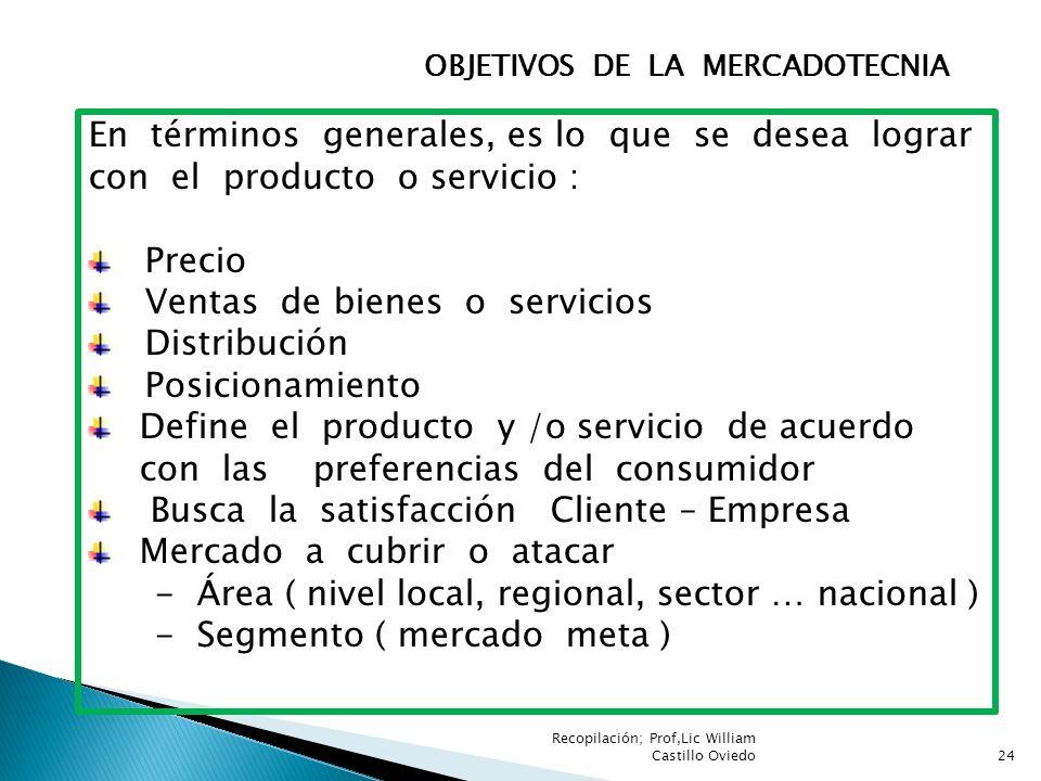 Ventas de bienes o servicios Distribución Posicionamiento
