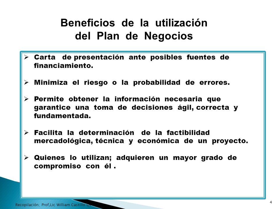 Beneficios de la utilización del Plan de Negocios