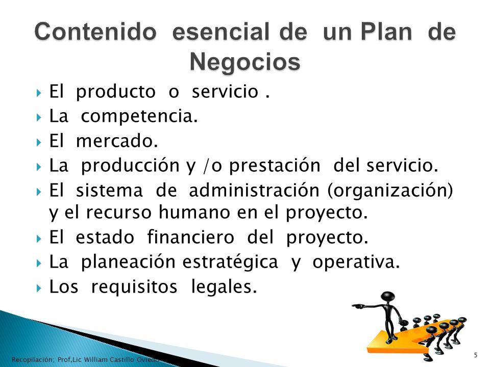 Contenido esencial de un Plan de Negocios