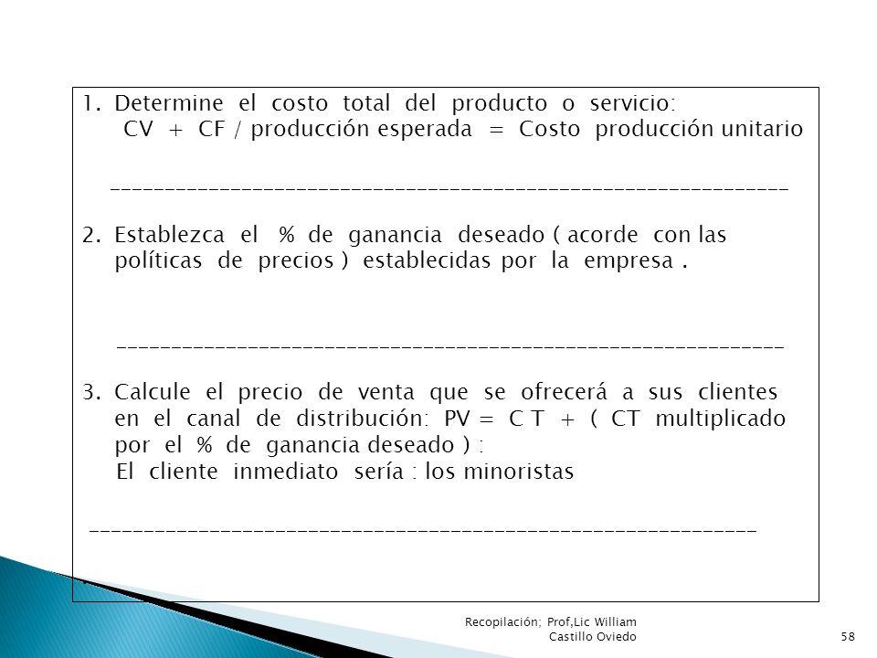 Determine el costo total del producto o servicio: