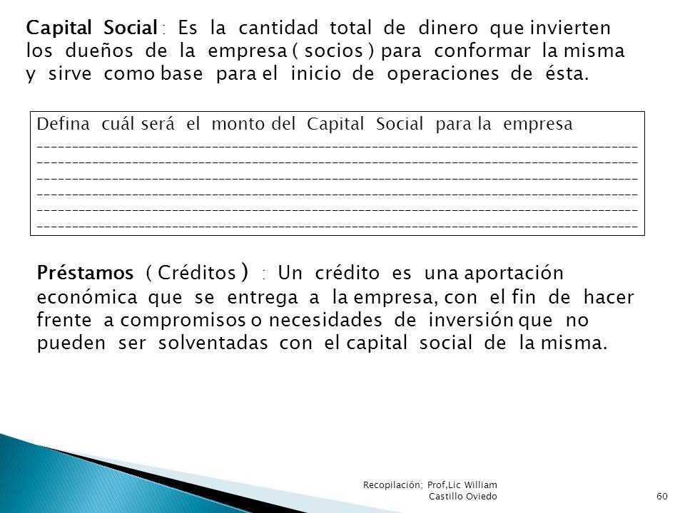 Capital Social : Es la cantidad total de dinero que invierten los dueños de la empresa ( socios ) para conformar la misma y sirve como base para el inicio de operaciones de ésta.