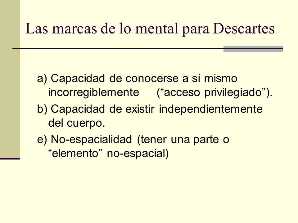 Las marcas de lo mental para Descartes
