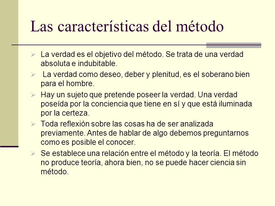 Las características del método
