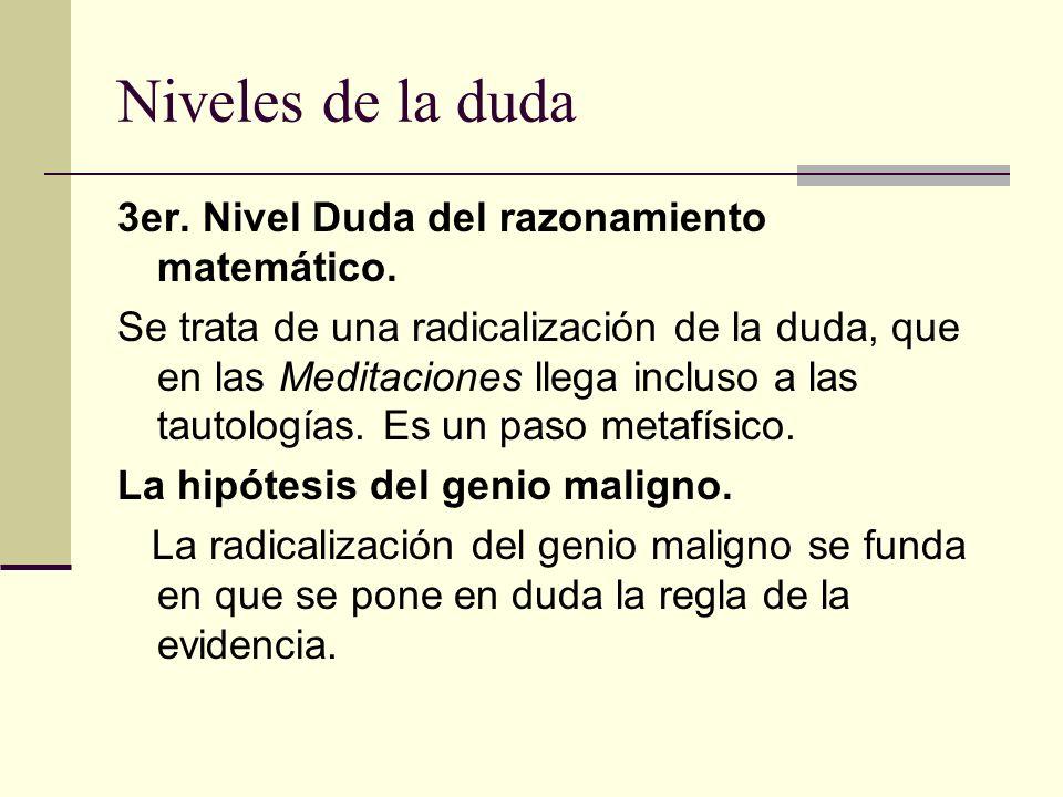 Niveles de la duda 3er. Nivel Duda del razonamiento matemático.