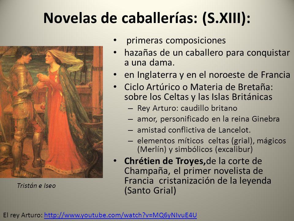 Novelas de caballerías: (S.XIII):