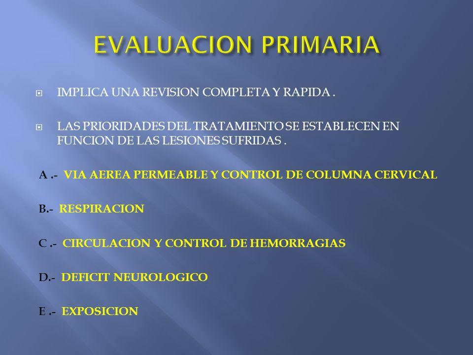 EVALUACION PRIMARIA IMPLICA UNA REVISION COMPLETA Y RAPIDA .