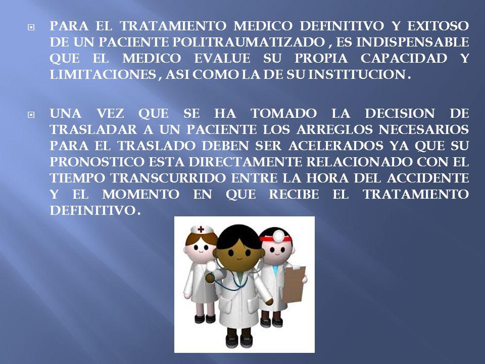 PARA EL TRATAMIENTO MEDICO DEFINITIVO Y EXITOSO DE UN PACIENTE POLITRAUMATIZADO , ES INDISPENSABLE QUE EL MEDICO EVALUE SU PROPIA CAPACIDAD Y LIMITACIONES , ASI COMO LA DE SU INSTITUCION .