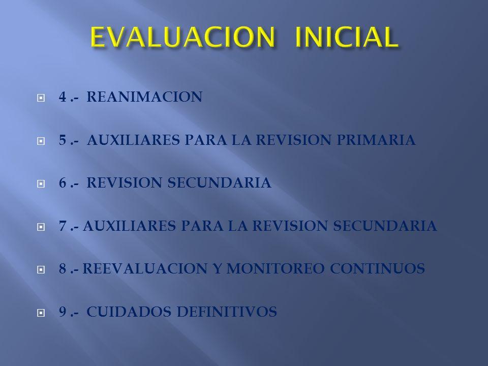 EVALUACION INICIAL 4 .- REANIMACION