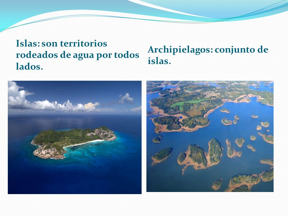 Islas: son territorios rodeados de agua por todos lados.