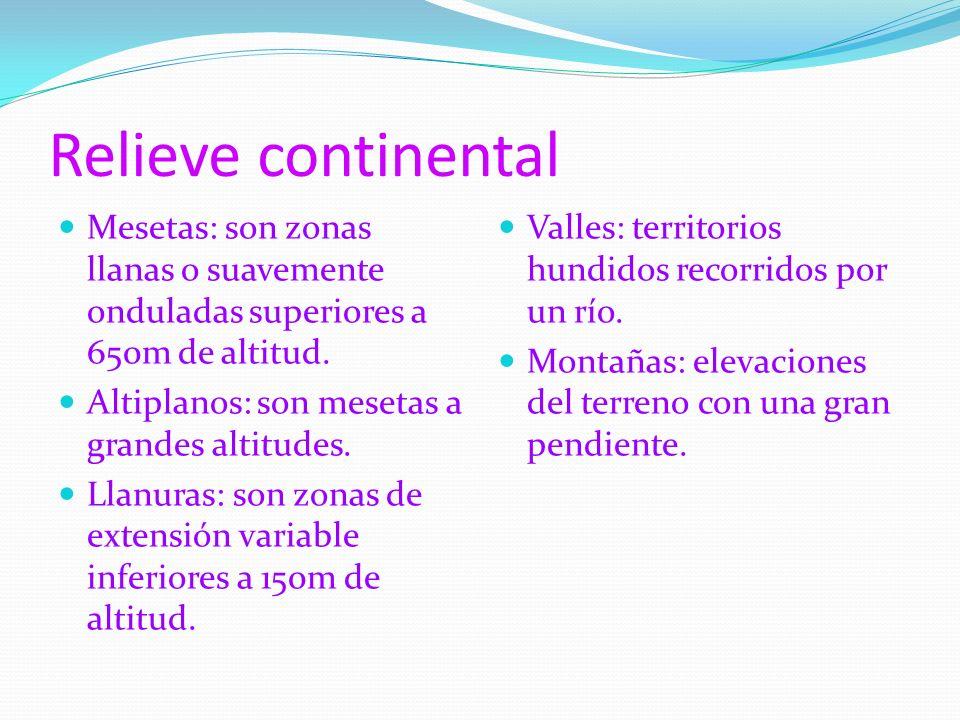 Relieve continental Mesetas: son zonas llanas o suavemente onduladas superiores a 650m de altitud. Altiplanos: son mesetas a grandes altitudes.
