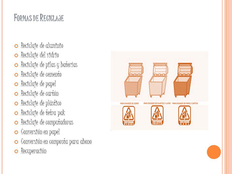Formas de Reciclaje Reciclaje de aluminio Reciclaje del vidrio