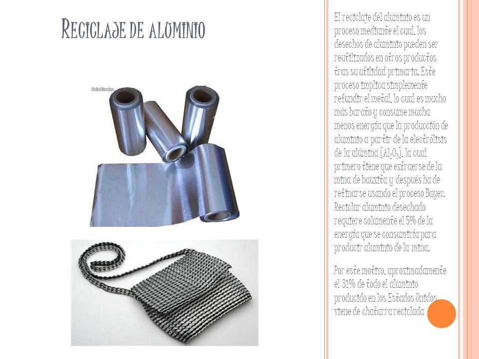 El reciclaje del aluminio es un proceso mediante el cual, los desechos de aluminio pueden ser reutilizados en otros productos tras su utilidad primaria. Este proceso implica simplemente refundir el metal, lo cual es mucho más barato y consume mucha menos energía que la producción de aluminio a partir de la electrólisis de la alúmina (Al2O3), la cual primero tiene que extraerse de la mina de bauxita y después ha de refinarse usando el proceso Bayer. Reciclar aluminio desechado requiere solamente el 5% de la energía que se consumiría para producir aluminio de la mina.