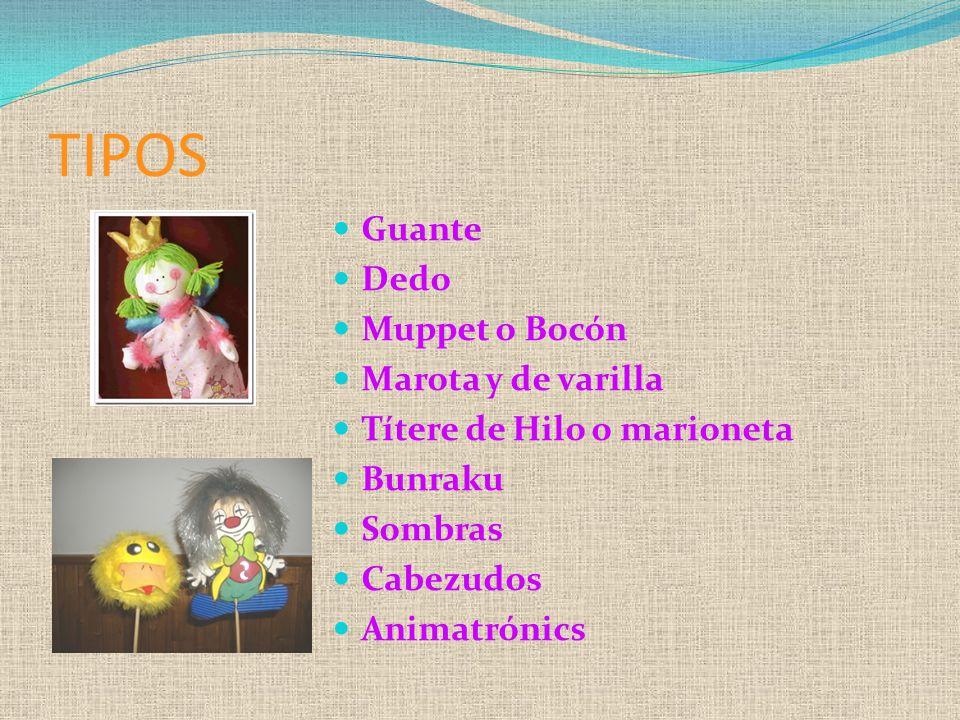 TIPOS Guante Dedo Muppet o Bocón Marota y de varilla