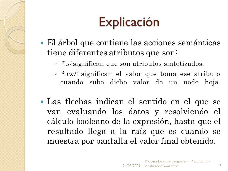 ExplicaciónEl árbol que contiene las acciones semánticas tiene diferentes atributos que son: *.s: significan que son atributos sintetizados.