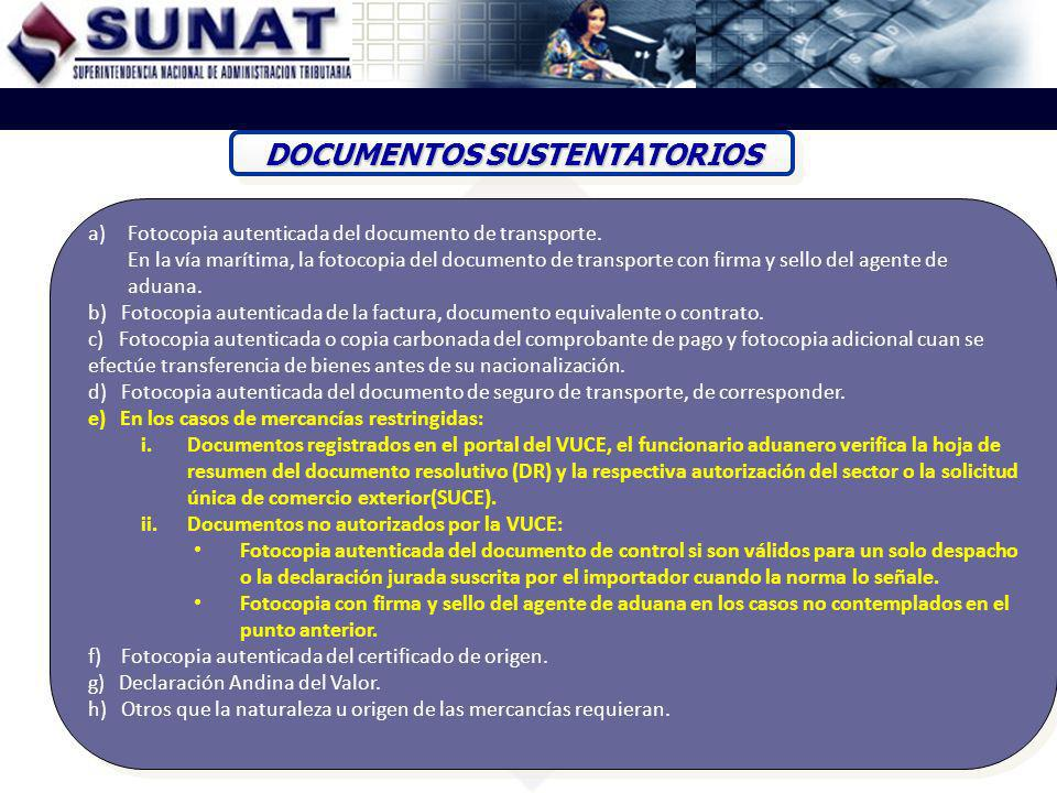 DOCUMENTOS SUSTENTATORIOS