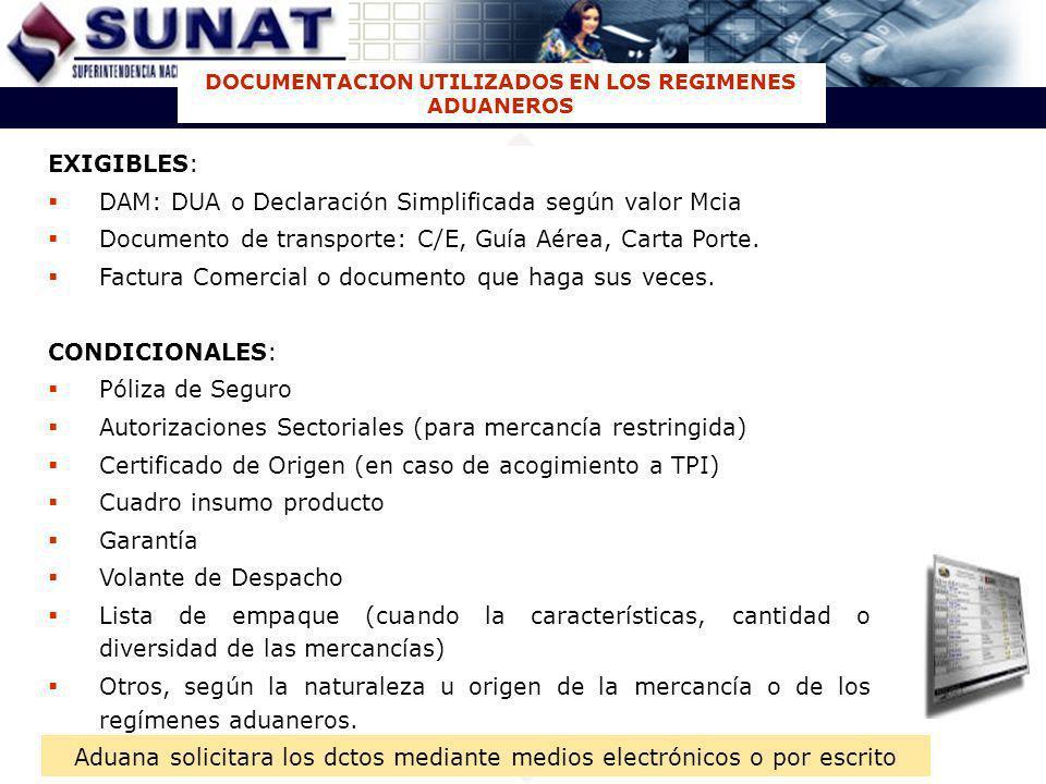 DOCUMENTACION UTILIZADOS EN LOS REGIMENES ADUANEROS