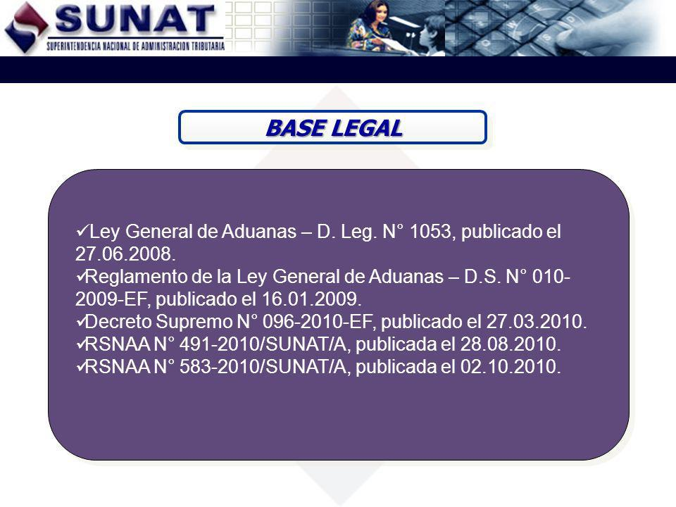BASE LEGAL Ley General de Aduanas – D. Leg. N° 1053, publicado el 27.06.2008.