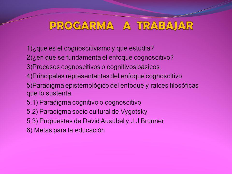 PROGARMA A TRABAJAR 1)¿que es el cognoscitivismo y que estudia