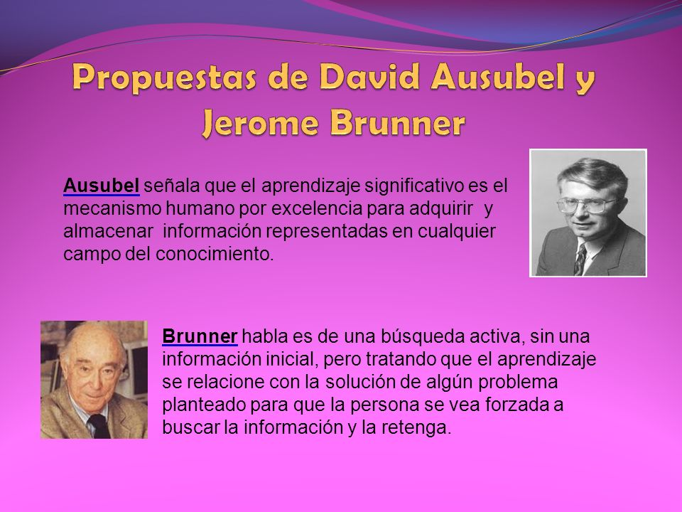 Propuestas de David Ausubel y Jerome Brunner