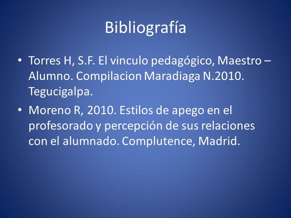 Bibliografía Torres H, S.F. El vinculo pedagógico, Maestro –Alumno. Compilacion Maradiaga N.2010. Tegucigalpa.