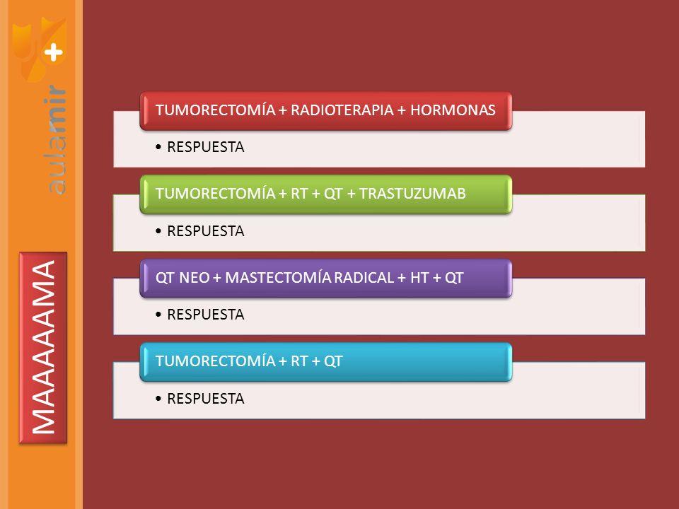 MAAAAAMA TUMORECTOMÍA + RADIOTERAPIA + HORMONAS RESPUESTA