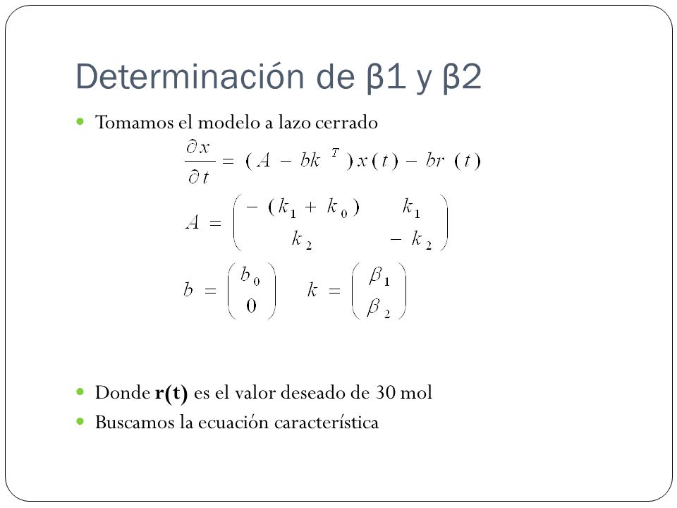 Determinación de β1 y β2 Tomamos el modelo a lazo cerrado