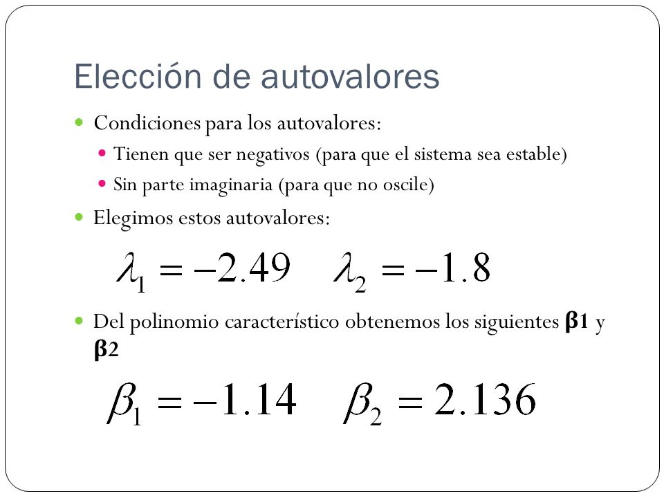Elección de autovalores
