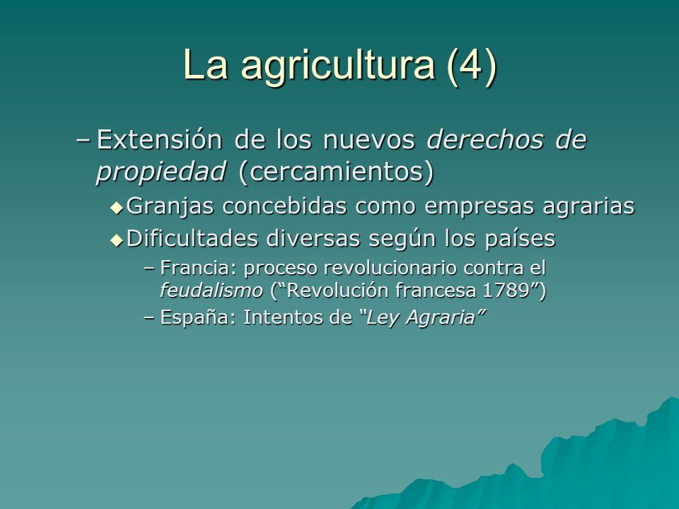 La agricultura (4) Extensión de los nuevos derechos de propiedad (cercamientos) Granjas concebidas como empresas agrarias.