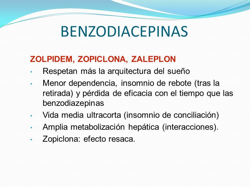 BENZODIACEPINAS ZOLPIDEM, ZOPICLONA, ZALEPLON