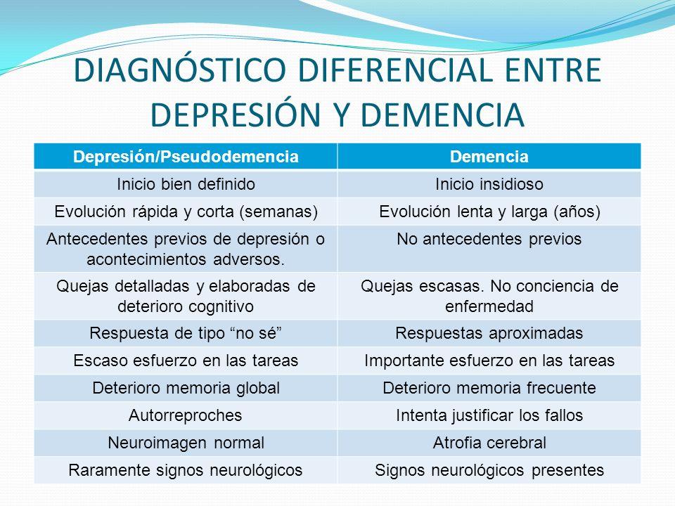 DIAGNÓSTICO DIFERENCIAL ENTRE DEPRESIÓN Y DEMENCIA