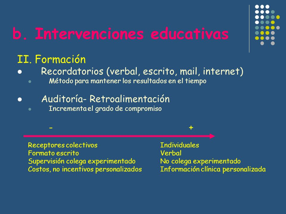 b. Intervenciones educativas
