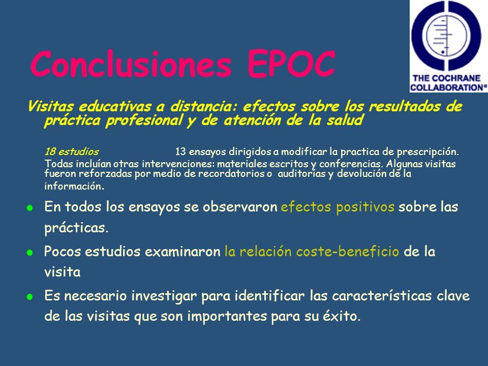 Conclusiones EPOC Visitas educativas a distancia: efectos sobre los resultados de práctica profesional y de atención de la salud.