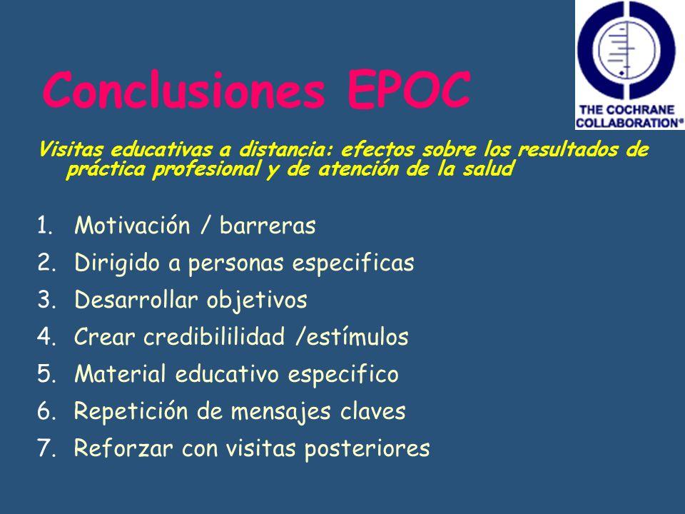 Conclusiones EPOC Motivación / barreras